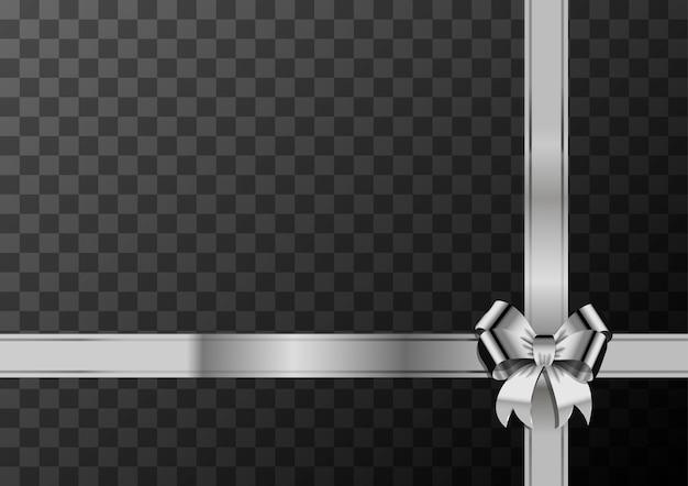 Nudo de lazo de plata y cinta sobre fondo transparente