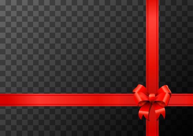 Nudo de lazo rojo brillante y cinta en transparente