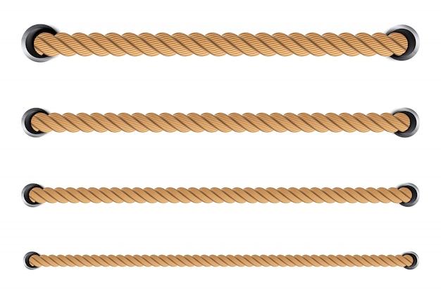 Nudos de cuerda torcida náutica, bucles.