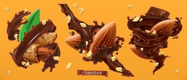 Nueces almendras y salpicaduras de chocolate. 3d realista