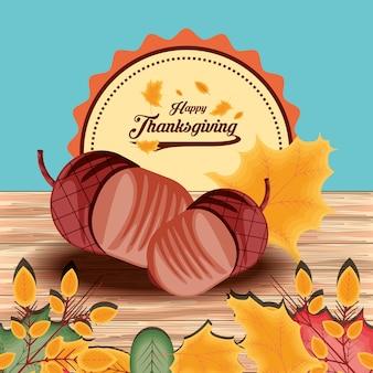 Nueces para el día de acción de gracias con hojas