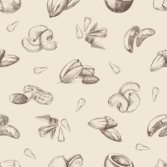 Nueces dibujadas a mano garabatos de patrones sin fisuras
