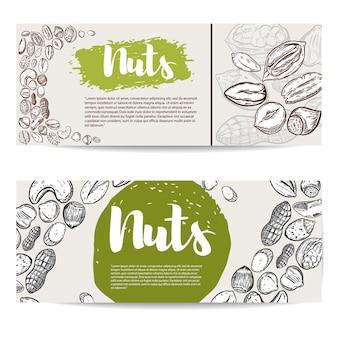 Nueces. plantilla de volante con borde de ilustraciones de frutos secos. elemento para póster, folleto,. ilustración