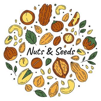 Nueces y semillas conjunto de iconos en la ilustración de estilo doodle