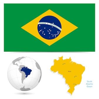 Nueva bandera detallada con mapa mundial de brasil