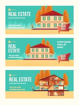 Nueva casa que compra una pancarta de anuncios de dibujos animados con fachada de cabaña y habitaciones.