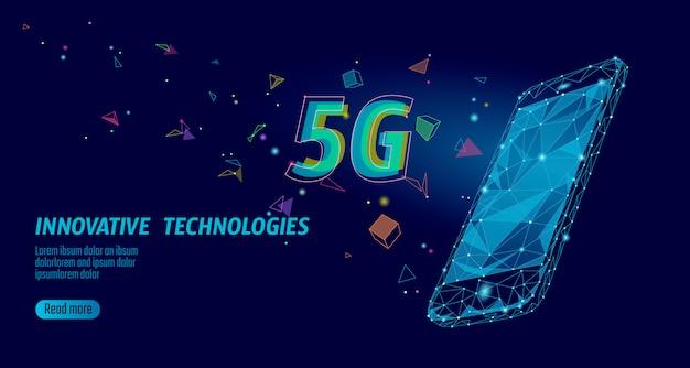 Nueva conexión inalámbrica a internet 5g. portatil dispositivo movil isometrico azul