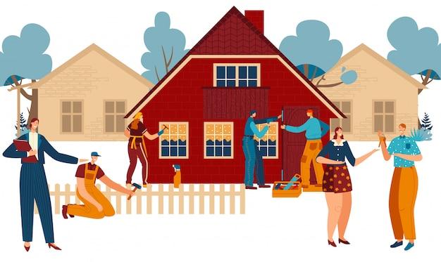 Nueva construcción de viviendas y mudanza, agente de bienes raíces, pareja feliz con llave y trabajadores pintando nueva ilustración de dibujos animados de cabaña.