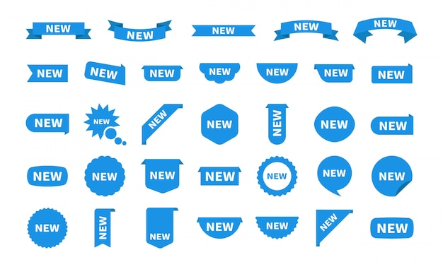 Nueva etiqueta conjunto de etiquetas aisladas. icono de etiqueta plana azul con texto. pegatinas de productos con oferta.