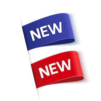 Nueva etiqueta de oferta aislada sobre fondo blanco, azul y rojo, nuevas etiquetas, ilustración vectorial