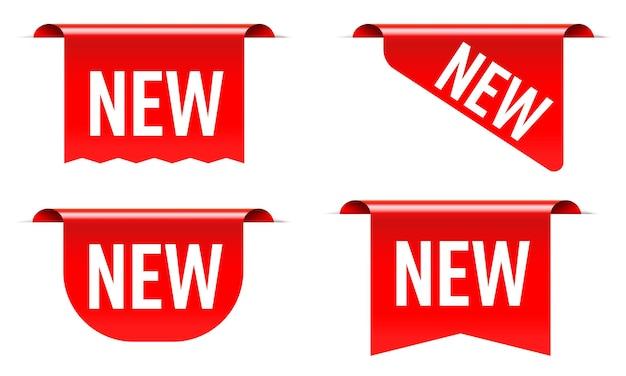 Nueva etiqueta de venta, pegatina, letrero rojo de esquina.