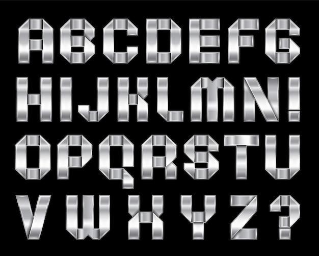 Nueva fuente doblada de una cinta metálica plateada. alfabeto de cromo de moda, letras de vector gris sobre un fondo negro, 10eps