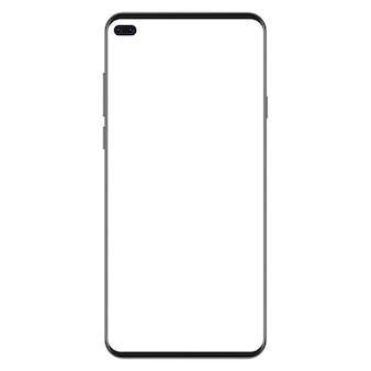 Nueva generación de smartphone negro delgado y realista sin marco con pantalla blanca en blanco