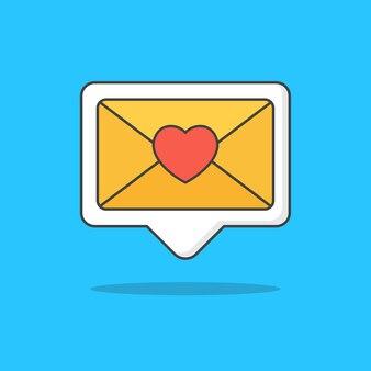 Nueva ilustración de icono de mensaje de amor no leído aislado