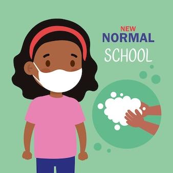 Nueva ilustración normal de la escuela de niña negra con mascarilla y lavado de manos