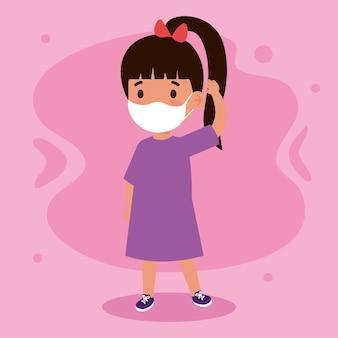 Nueva ilustración normal de niña con máscara
