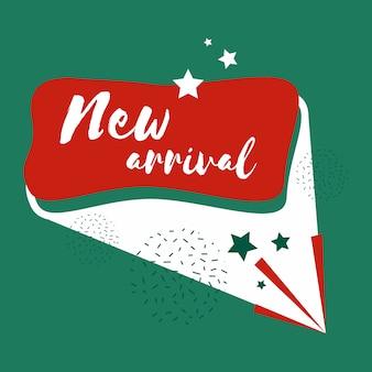 Nueva insignia de llegada de compras y venta al por menor.