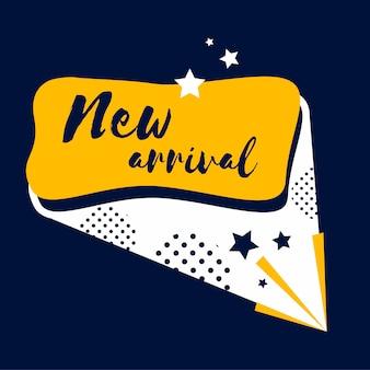 Nueva insignia de llegada de compras y venta por menor vector