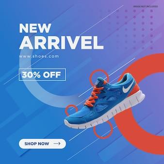 Nueva llegada, diseño de banner de redes sociales de zapatos.