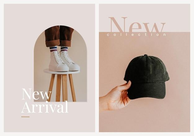 Nueva llegada, plantilla de compras, vector, estética, moda, anuncio, cartel, conjunto doble
