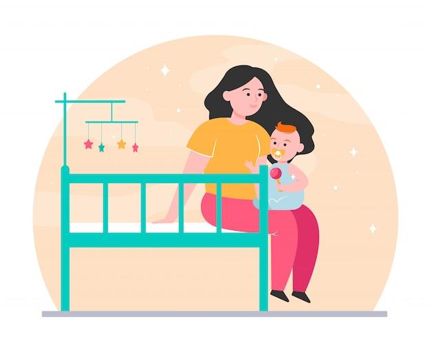 Nueva mamá abrazando y calmando al bebé