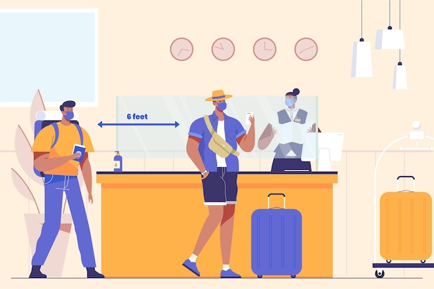 Nueva normalidad en hotel ilustrada