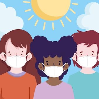 Nueva normalidad, personas con máscaras médicas en la caricatura al aire libre.