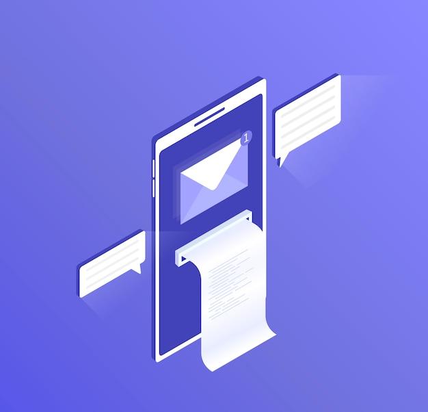 Nueva notificación por correo electrónico en el teléfono móvil, proteja el teléfono inteligente con un mensaje abierto y lea el ícono del sobre del correo. ilustración isométrica moderna