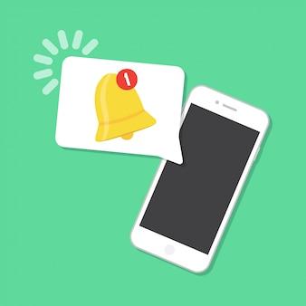 Nueva notificación llegó en el teléfono inteligente. concepto de notificación