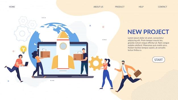 Nueva página de destino de diseño de creación de proyecto global
