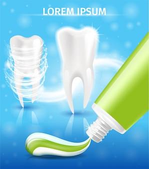 Nueva pasta de dientes para blanquear los dientes vector promo