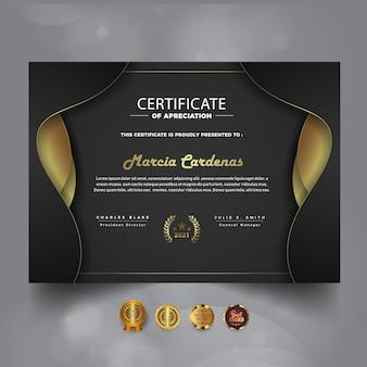 Nueva plantilla de certificado de logro oscuro