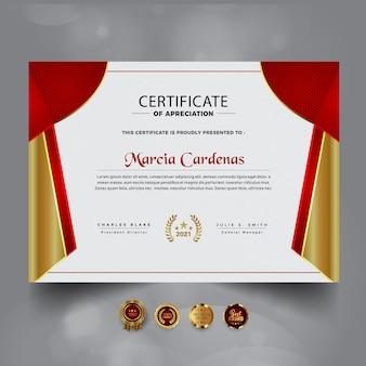 Nueva plantilla de certificado de logro rojo moderno