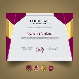 Nueva plantilla de diseño de certificado abstracto