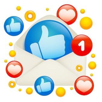 Nueva plantilla de tarjeta de mensaje con el icono de pulgares arriba en el sobre