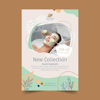Nueva plantilla de volante vertical de colección de cosméticos