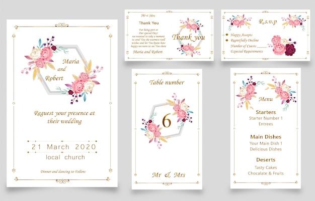 Nueva tarjeta de invitación de boda moderna acuarela