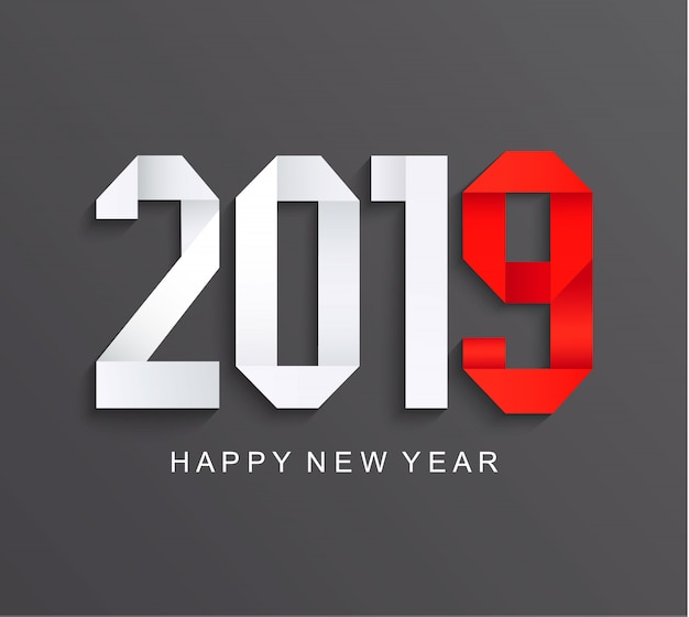 Nueva tarjeta de papel de felicitación de 2019 años.