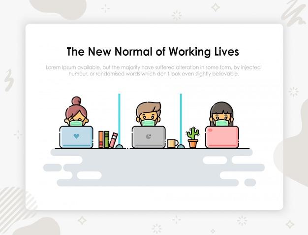 Nueva vida normal. hombre de negocios personas con máscara médica diseño de personajes.