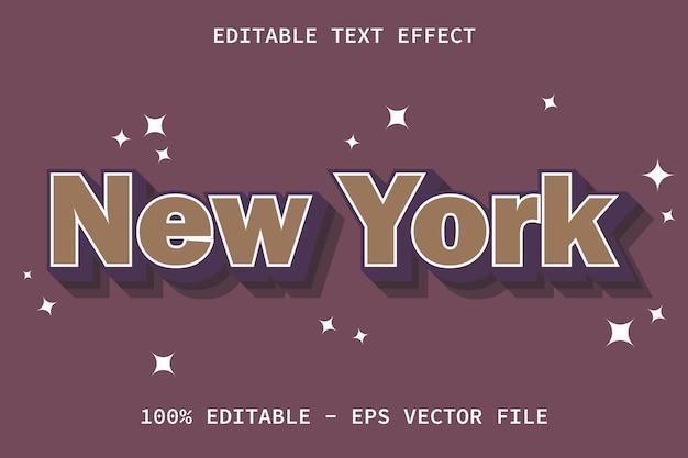 Nueva york con efecto de texto editable de estilo vintage