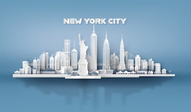 Nueva york con rascacielos urbanos