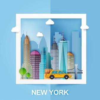 Nueva york. skyline y paisaje de edificios y monumentos famosos. estilo de papel ilustración.