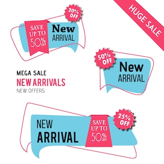Nuevas etiquetas de llegada diseño vectorial