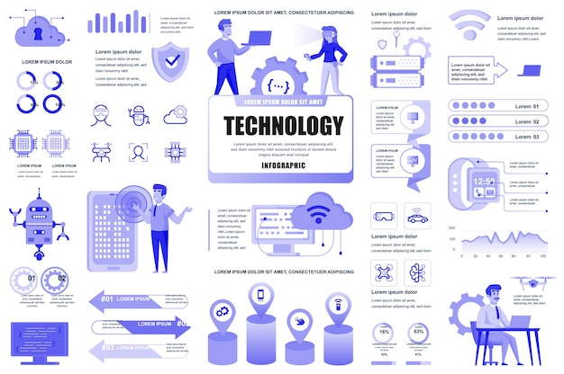 Nuevas tecnologías elementos infográficos diagramas de gráficos diferentes servicio de ti