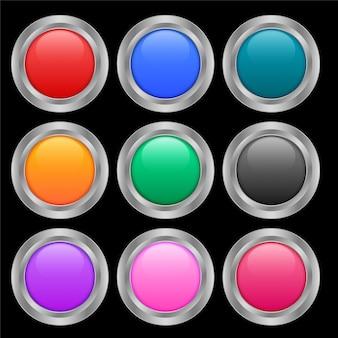 Nueve botones redondos brillantes en diferentes colores.