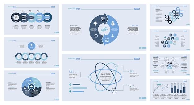 Nueve conjunto de plantillas de diapositivas de infografía