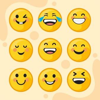 Nueve emoticonos sonriendo