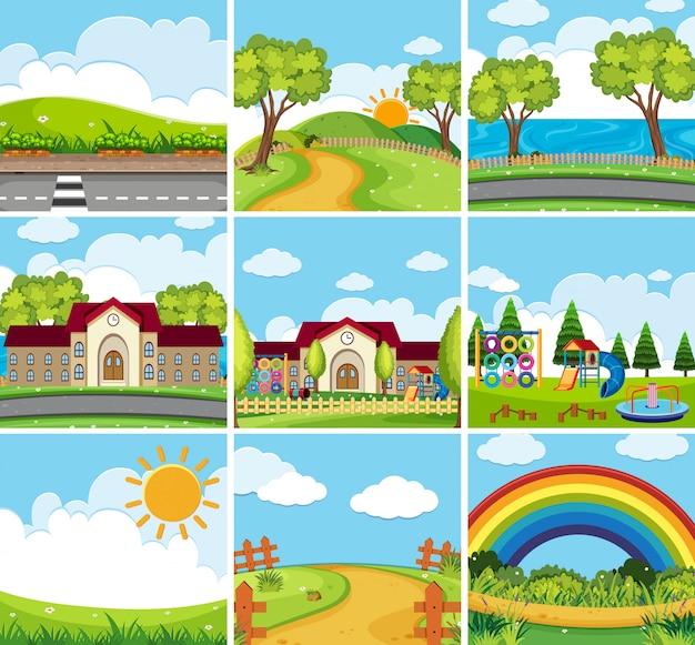 Nueve escenas de la escuela y parques