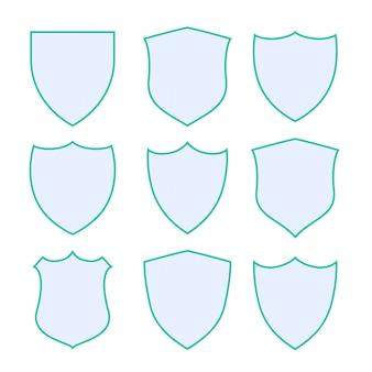 Nueve escudos de protección con borde verde