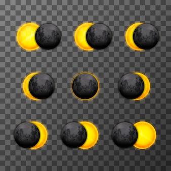Nueve etapas de eclipse con luna satélite realista y sol estelar sobre fondo transparente